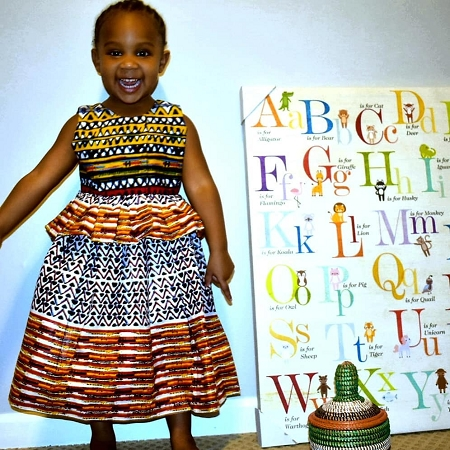 African Ankara Multicolored Dress For Girls