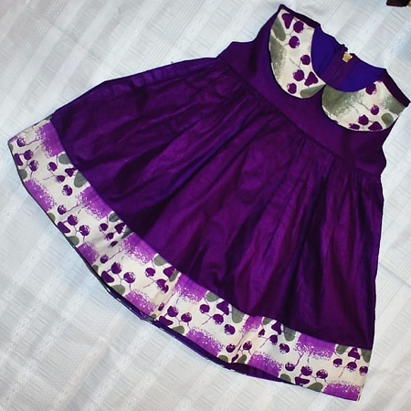 African Empire Dress For Girls - Purple Silver