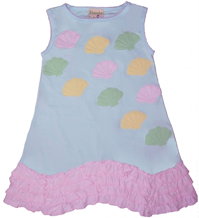 PimaCotton - Aqua Dress with Pink Lace Ruffles & Sea Shells Embroidery