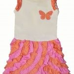 PimaCotton - Pink & Orange Butterfly Ruffle Rompers