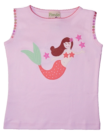 PimaCotton - Mermaid & Stars Soft Pink Top