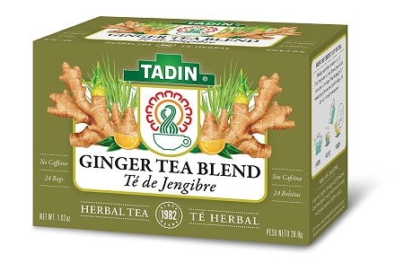 Tadin Ginger Herbal Tea Blend, Caffeine Free, 24 Tea Bags
