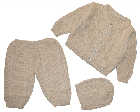 PimaCotton – Braided Cable Style Set Tan For Baby Boys