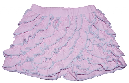Pima Cotton - Pink Lace Ruffle Shorts with Aqua Finish