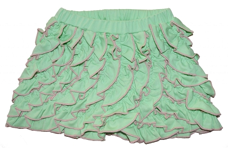 PimaCotton - Soft Green & Pink Ruffle Bottoms Shorts