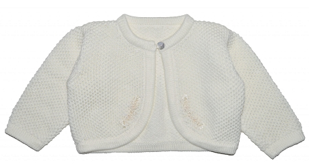 PimaCotton - Hand Knitted Baby Girl Sweater Ivory