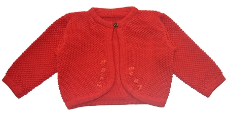 PimaCotton - Hand Knitted Baby Girl Sweater Red