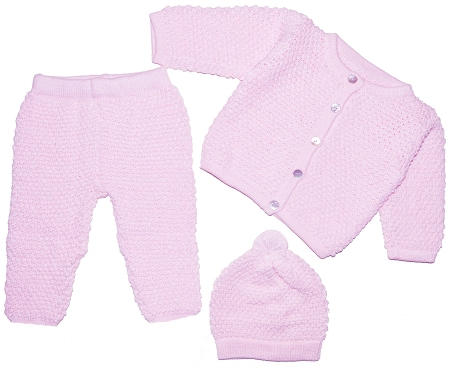 PimaCotton - Hand Knitted Cute Baby Set for Baby Girls Pink